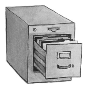 sketch of small filing cabinet with open drawer