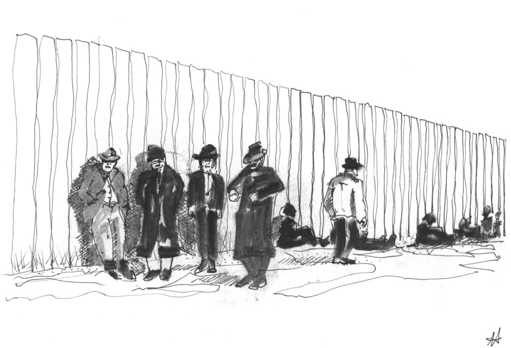 sketch of row of men standing in front of a tall fence