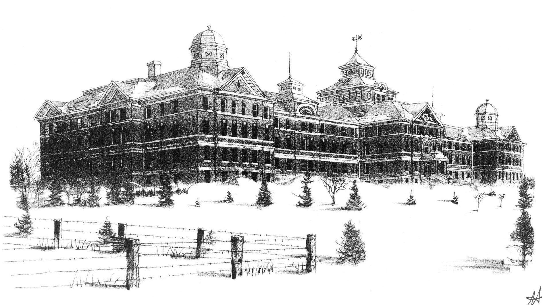 sketch of large grand asylum with field and fencing in front