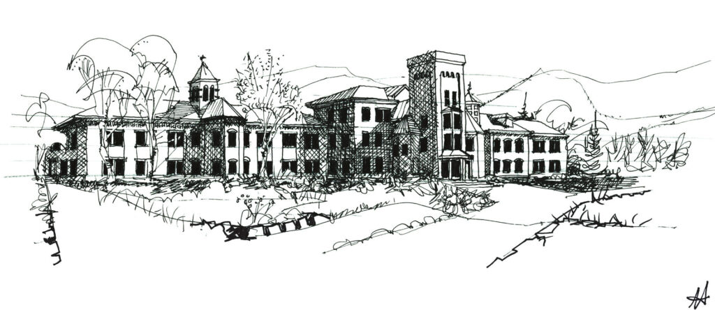 black and white sketch of old asylum with central tower