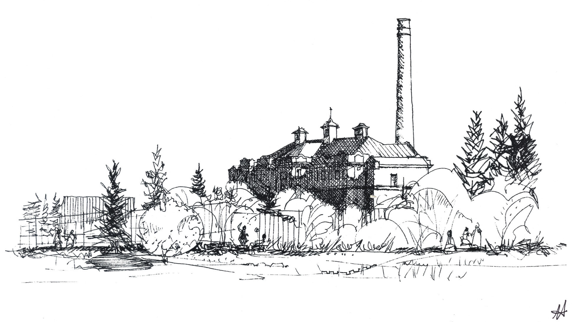 sketch of large institution behind some trees, tall smoke stack visible
