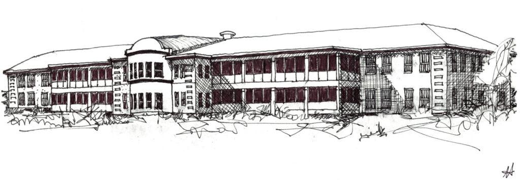 sketch of modern institutional building with verandas