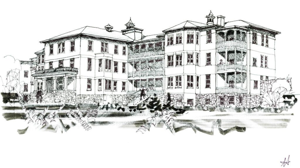 sketch of grand old institutional building with verandas
