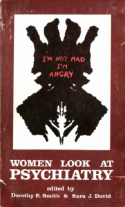 book cover with ink blot and title I'm Not Mad I'm Angry: Women look at psychiatry