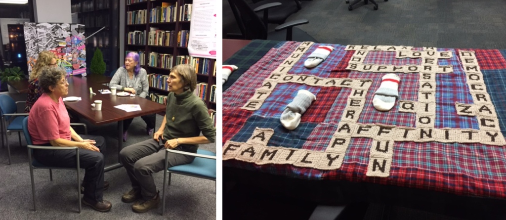 on left 2 people at a table talking: on right a scrabble quilt