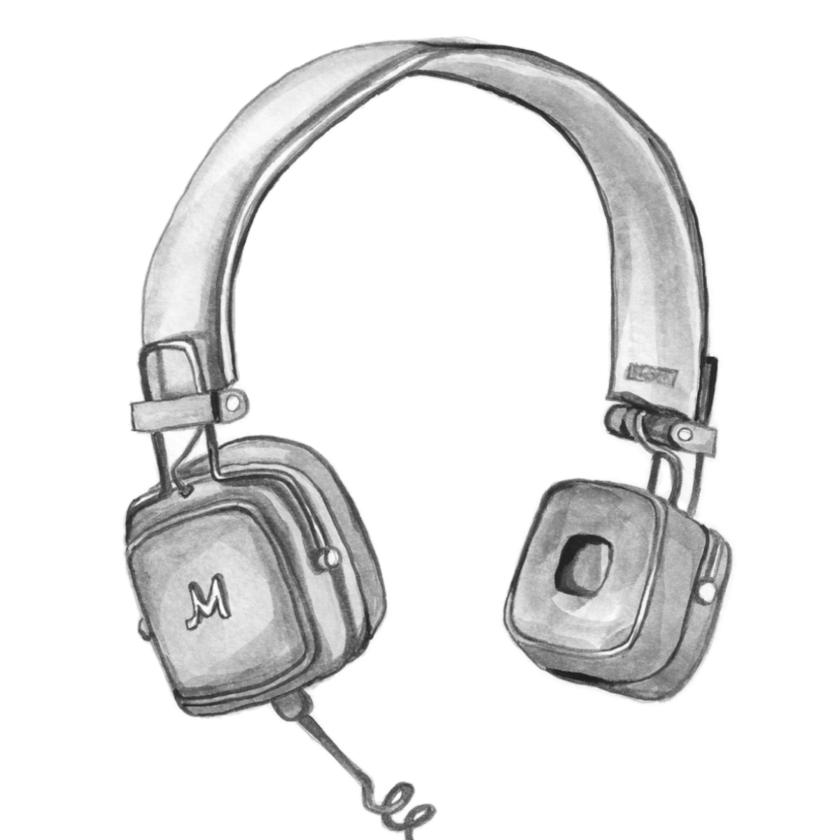 sketch of old fashioned headphones