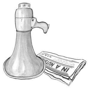 megaphone and copy of newspaper