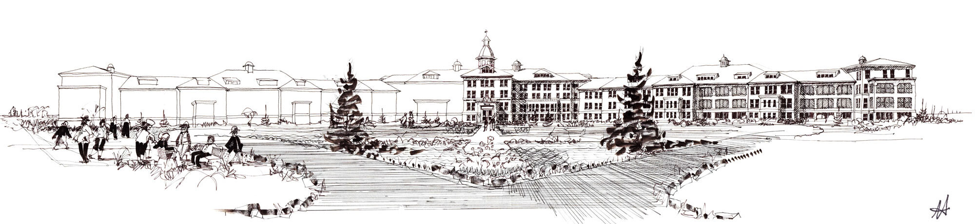 sketch of old asylum institution with grand driveway entrance