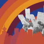 graphic with psychadelic rainbow and photo of protesters
